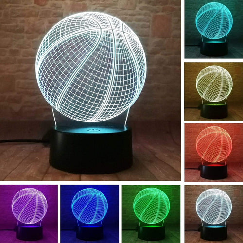 Gadgets Drucktaste (Touch Switch) Basketball: 3D LED Lampe Basketball 7 Farben (4362693673012)