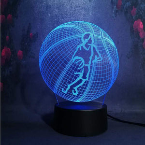 Gadgets Basketball: 3D LED Lampe Basketballspieler Ball 7 Farben (4362711269428)