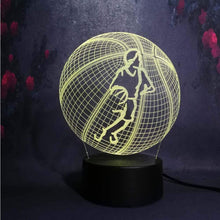 Laden Sie das Bild in den Galerie-Viewer, Gadgets Basketball: 3D LED Lampe Basketballspieler Ball 7 Farben (4362711269428)