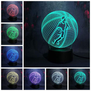 Gadgets Drucktaste (Touch Switch) Basketball: 3D LED Lampe Basketballspieler Ball 7 Farben (4362711269428)