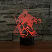 Laden Sie das Bild in den Galerie-Viewer, Gadgets Eishockey: 3D LED Lampe Goalie 7 Farben (4332591120436)