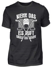Laden Sie das Bild in den Galerie-Viewer, Herren Basic T-Shirt Black / S Eishockey: Das Eis ruft  - Herren Shirt (4330462347316)