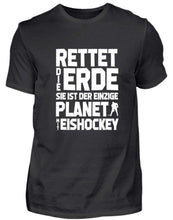 Laden Sie das Bild in den Galerie-Viewer, Herren Basic T-Shirt Black / S Eishockey: Rettet die Erde!  - Herren Shirt (4330466902068)