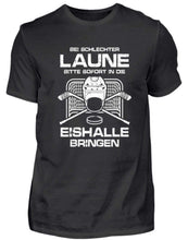 Laden Sie das Bild in den Galerie-Viewer, Herren Basic T-Shirt Black / S Eishockey: Schlechtgelaunt? Eishalle!  - Herren Shirt (4330462576692)