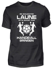 Laden Sie das Bild in den Galerie-Viewer, Herren Basic T-Shirt Black / S Handball: Schlechtgelaunt? Handball!  - Herren Shirt (4338639994932)