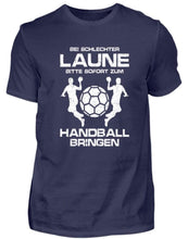Laden Sie das Bild in den Galerie-Viewer, Herren Basic T-Shirt Navy / S Handball: Schlechtgelaunt? Handball!  - Herren Shirt (4338639994932)