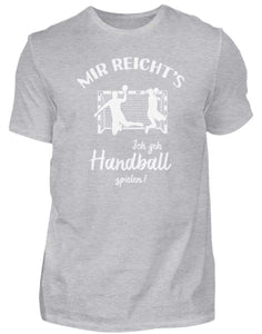 Herren Basic T-Shirt Heather Grey / S Handballer: Ich geh Handball spielen!  - Herren Shirt (4337367744564)