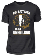 Laden Sie das Bild in den Galerie-Viewer, Herren Basic T-Shirt Black / S Klettern: Es ist unheilbar  - Herren Shirt