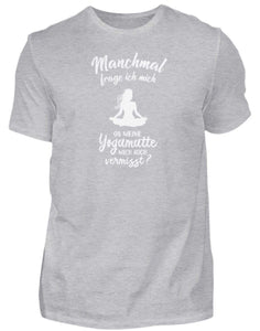 Herren Basic T-Shirt Heather Grey / S Meditation: Ob Yoga mich vermisst?  - Herren Shirt