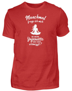 Herren Basic T-Shirt Red / S Meditation: Ob Yoga mich vermisst?  - Herren Shirt