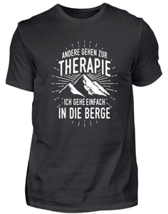Herren Basic T-Shirt Black / S Wandern: Therapie? In die Berge  - Herren Shirt