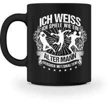 Laden Sie das Bild in den Galerie-Viewer, Kaffeetasse Black / M Handball: Wie ein alter Mann?  - Tasse (4338635210804)