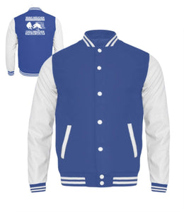 Kinder Collegejacke Royal Blue-White / 3/4 (98/104) Eishockey: Coole Mädchen spielen selber  - Kinder College Sweatjacke (4378890403892)