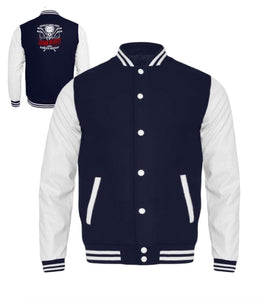 Kinder Collegejacke Oxford Navy-White / 3/4 (98/104) Eishockey: Eishockeyspieler heulen nicht  - Kinder College Sweatjacke