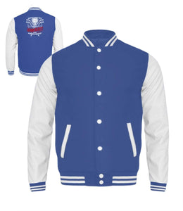 Kinder Collegejacke Royal Blue-White / 3/4 (98/104) Eishockey: Eishockeyspieler heulen nicht  - Kinder College Sweatjacke