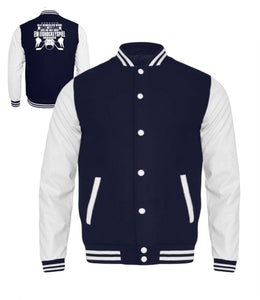 Kinder Collegejacke Oxford Navy-White / 3/4 (98/104) Eishockey: Nett, bis wir Eishockey schauen  - Kinder College Sweatjacke (4378892501044)