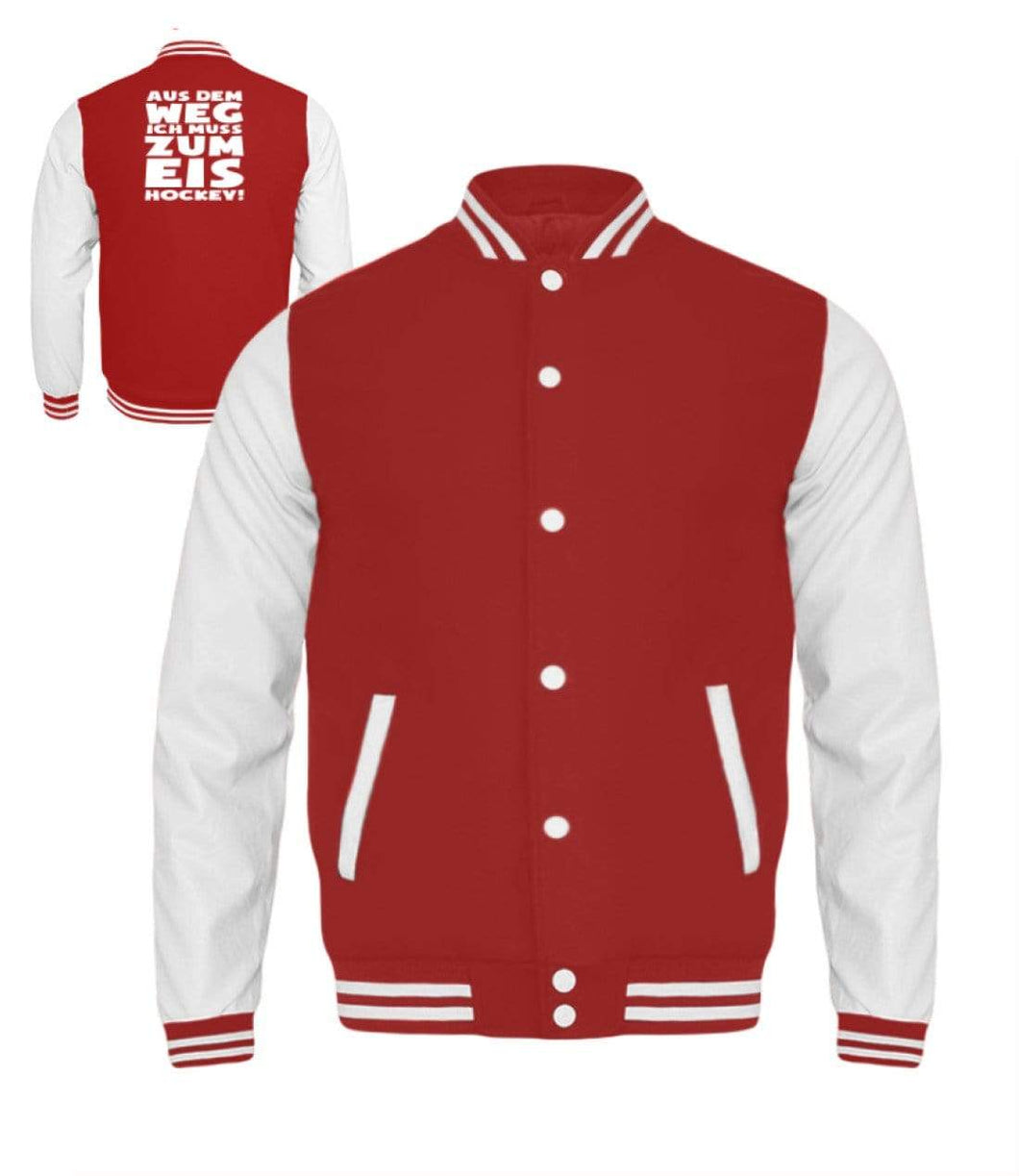 Kinder Collegejacke Fire Red-White / 3/4 (98/104) Eishockeyfan: ...ich muss zum Eishockey!  - Kinder College Sweatjacke (4378894106676)