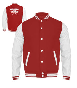 Kinder Collegejacke Fire Red-White / 3/4 (98/104) Eishockeyfan: Tag ohne Eishockey? Unmöglich!  - Kinder College Sweatjacke (4378898923572)