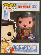Load image into Gallery viewer, Pop Marvel Iron Man 3 Tony Stark Unmasked #32 with 2013 SDCC Sticker