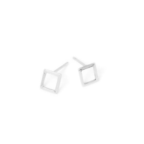 Paire de Boucles d'oreilles clous rectangle en laiton argenté 925