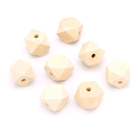 Lot de 10 perles polygones en bois naturel brut 20mm