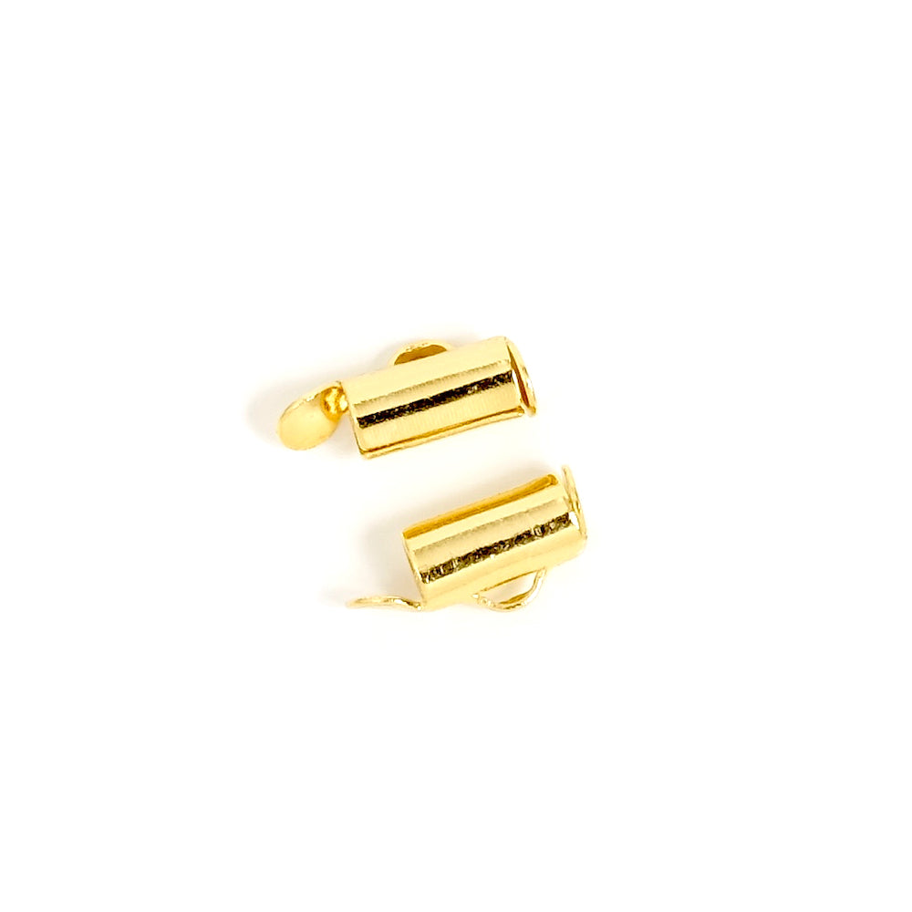 4 embouts tube cintre 9mm en Laiton doré à l'or fin 24K