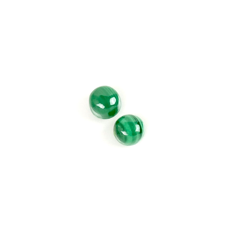 2 Cabochons de pierre naturelle Rond 4mm Malachite