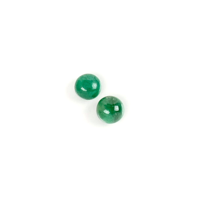 2 Cabochons de pierre naturelle Rond 4mm Emeraude
