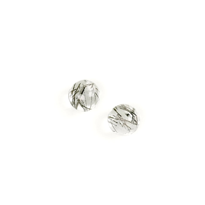 2 Cabochons de pierre naturelle Rond 4mm Black Rutile