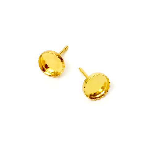 2 supports BO clous pour Cabochon 7mm en Laiton doré à l'or fin 24K