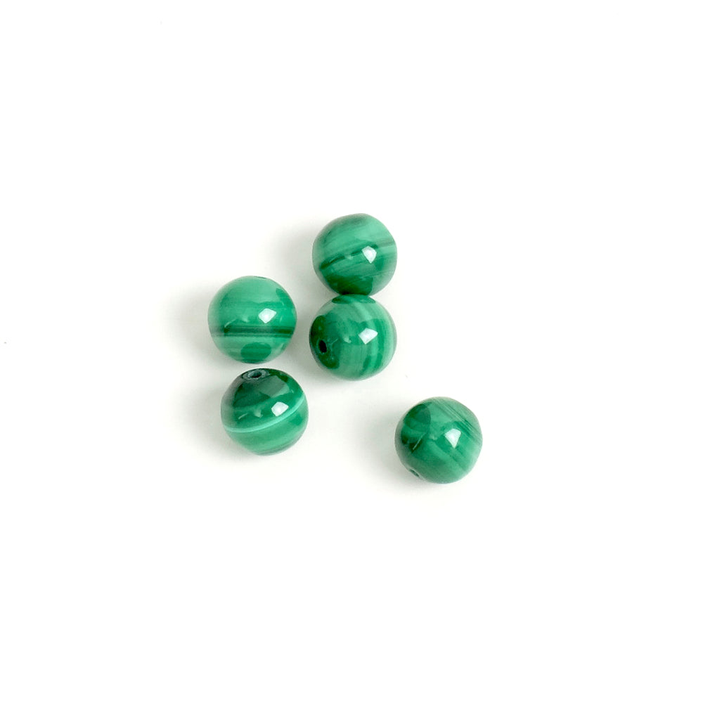 6 perles rondes 6mm naturelles de Malachite