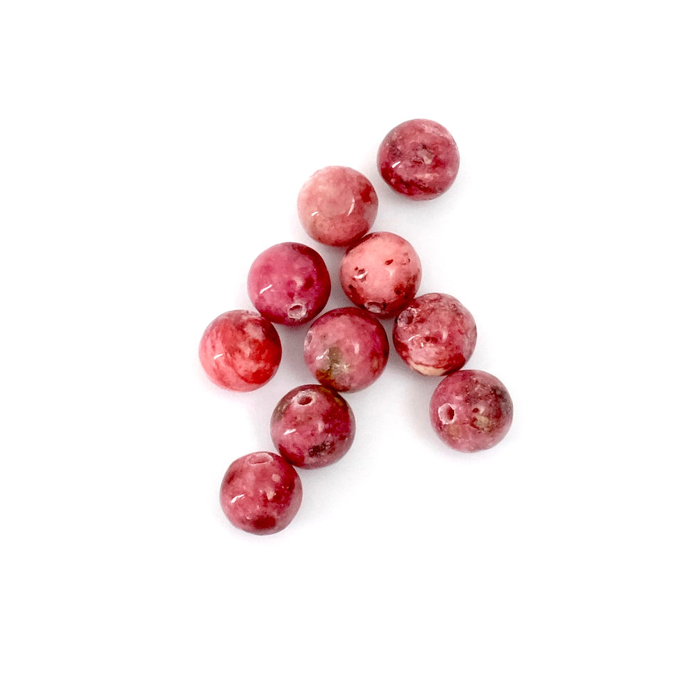 8 perles rondes 6mm naturelles de Rhodonite