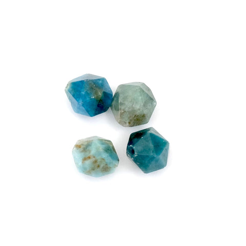 4 Perles polygones 10mm naturelle de Apatite