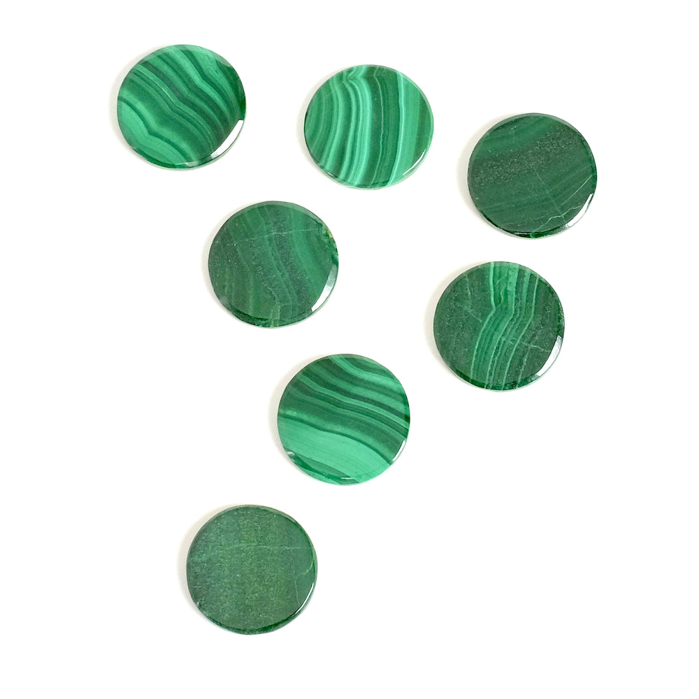Cabochon pierre naturelle plat 12mm Malachite
