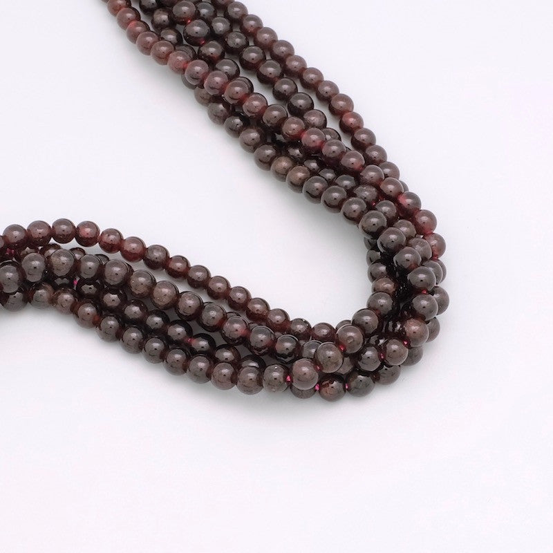 Lot de 10 perles rondes 4mm de Garnet naturelle