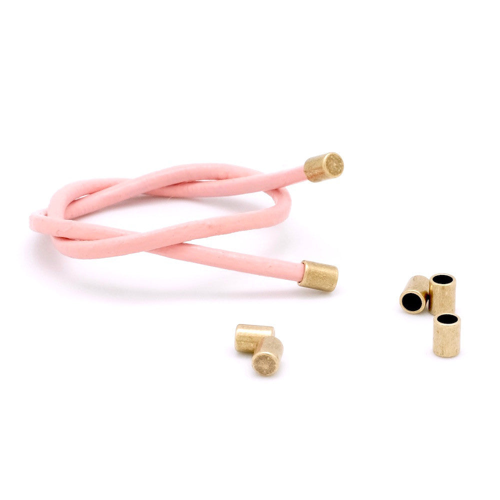 Lot de 10 Embouts de cordon 2mm à coller en laiton bronze