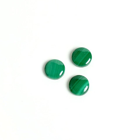 Cabochon rond 6mm Slim en pierre de Malachite