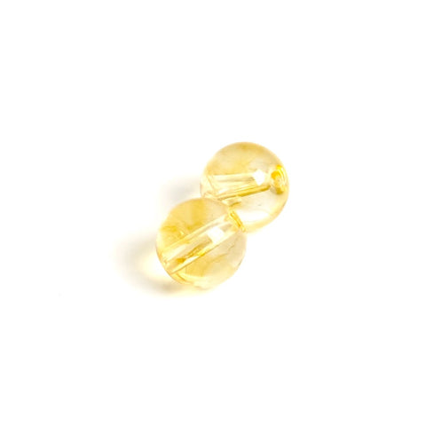 4 perles rondes 6mm naturelles de Citrine