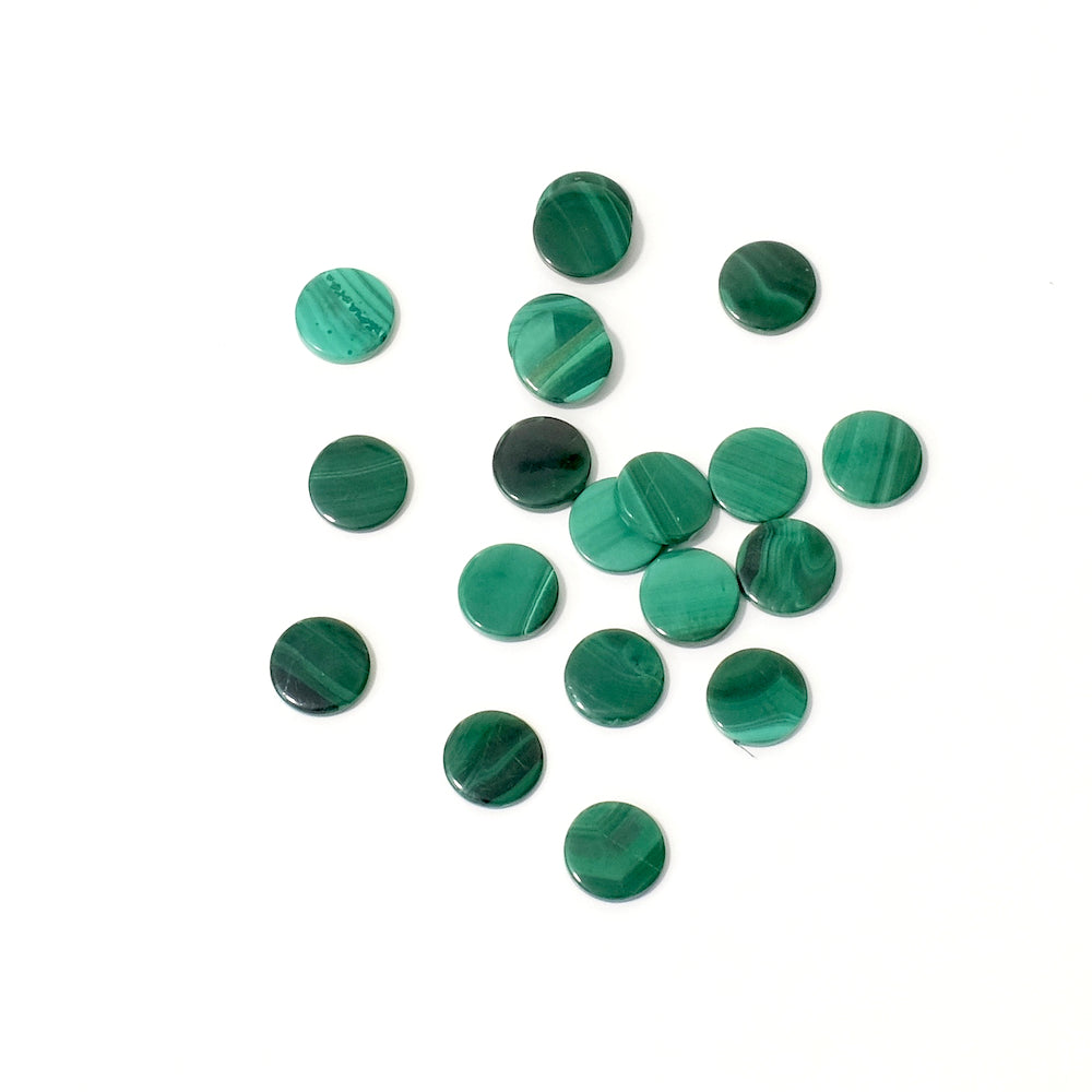 2 Cabochons rond 6mm plat en pierre naturelle Malachite
