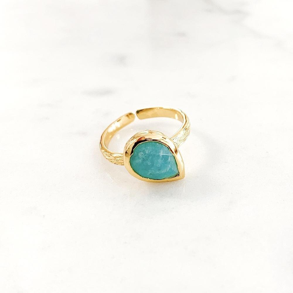 Bague Alex Amazonite Plaqué Or - Millegrain