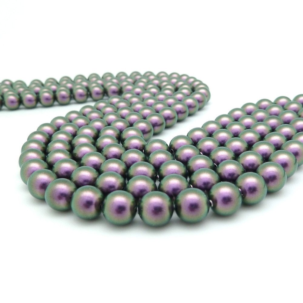 10 perles 6mm Swarovski Crystal Iridescent Purple Pearl
