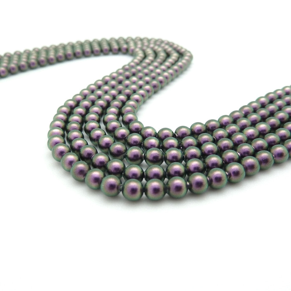 20 perles 4mm Swarovski Crystal Iridescent Purple Pearl