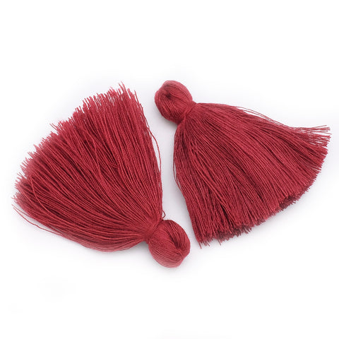 Lot de 2 Pompons XXL en coton 60mm Bordeaux