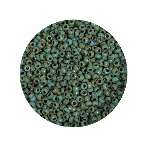 8 grammes de perles Miyuki Rocailles 11/0 Opaque Picasso Turquoise N°4514