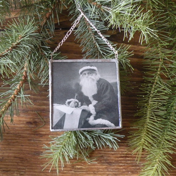 Santa claus, vintage photos upcycled from Christmas cards, upcycled to hand-soldered glass Christmas tree ornament