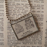 Acanthus leaf, architecture feature, vintage 1940s dictionary illustration, up-cycled to hand-soldered glass pendant