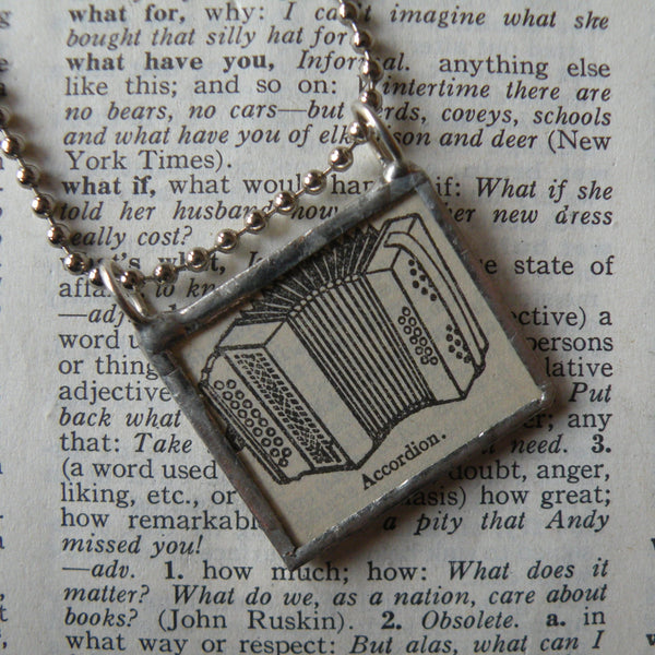 Accordion, vintage dictionary illustration up-cycled to soldered glass pendant