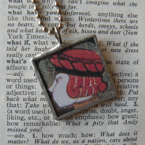 Alice in Wonderland, vintage children's book illustration upcycled to soldered glass pendant