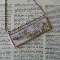 Alice in Wonderland, vintage illustrations, up-cycled to soldered glass pendant