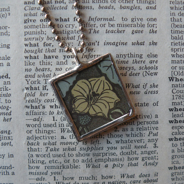 Nasturtum flower, leaf, vintage art nouveau botanical illustration, hand-soldered glass pendant